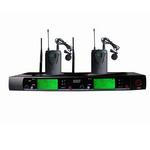 杭州 无线话筒 S-9100 UHF双路领夹式无线麦克风 红外对频导频制