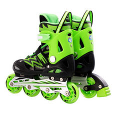 【美洲狮COUGAR】MZS835L-QS 溜冰鞋 儿童男女轮滑鞋滑冰鞋 可调码旱冰鞋 闪电黑绿不闪