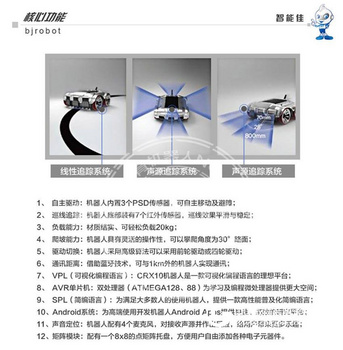 智能佳 AVR-CRX10 多功能轮式开发机器人 教学机器人开源平台