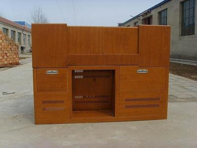 木纹转印左右推拉讲台双层平推式讲台钢制讲台