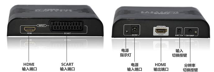 朗强欧插SCART转HDMI视频转换器